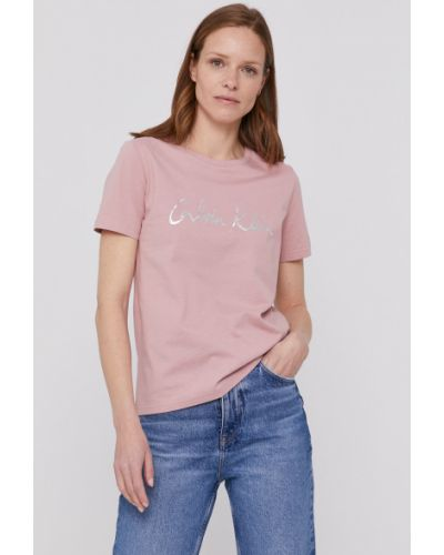 Różowy top bawełniany casual Calvin Klein