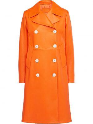 Długi płaszcz skórzany z kieszeniami Prada