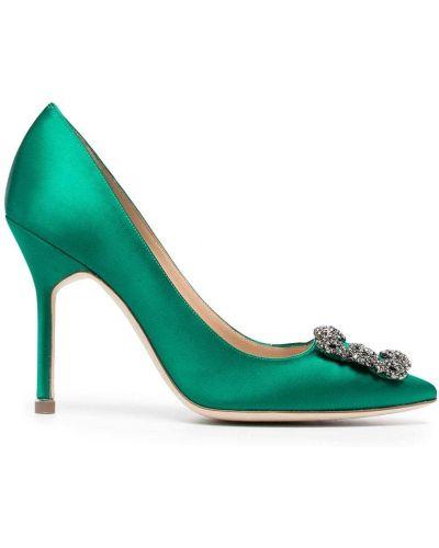 Зеленые кожаные туфли-лодочки на каблуке Manolo Blahnik