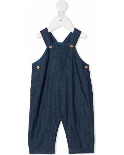 Синий ромпер на пуговицах с карманами с нашивками Knot
