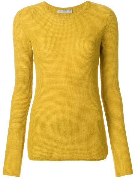Кашемировый желтый свитер узкого кроя с круглым вырезом Holland & Holland