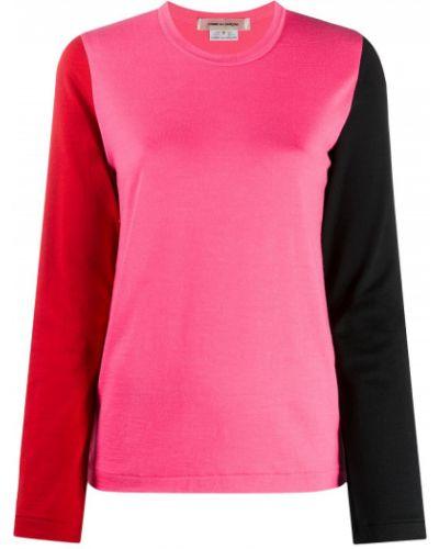 Шерстяная розовая прямая футболка с круглым вырезом Comme Des Garçons