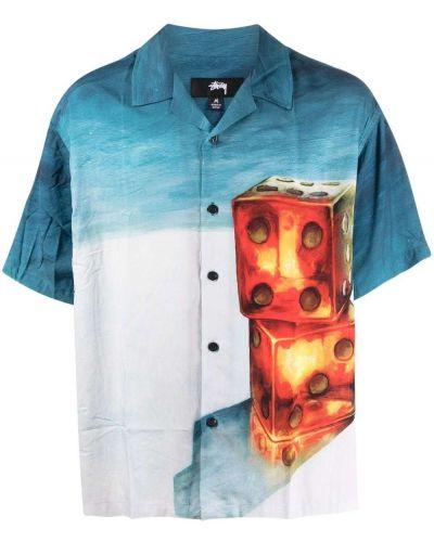 Синяя рубашка с коротким рукавом из вискозы с принтом Stussy