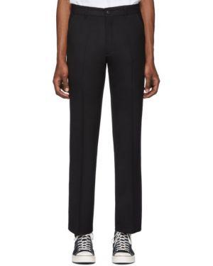 Шерстяные брючные черные брюки с поясом Second/layer