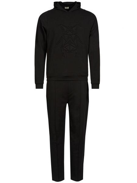 Хлопковый костюмный черный костюм Corneliani
