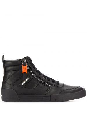 Высокие кроссовки черные на молнии Diesel