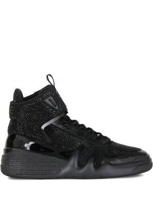 Skórzany czarny sneakersy z łatami Giuseppe Zanotti