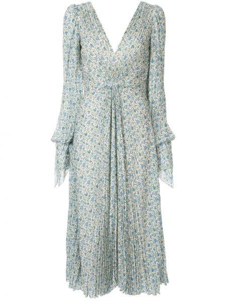 С рукавами синее платье макси с вырезом Luisa Beccaria