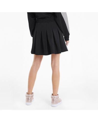 Плиссированное черное платье с поясом Puma