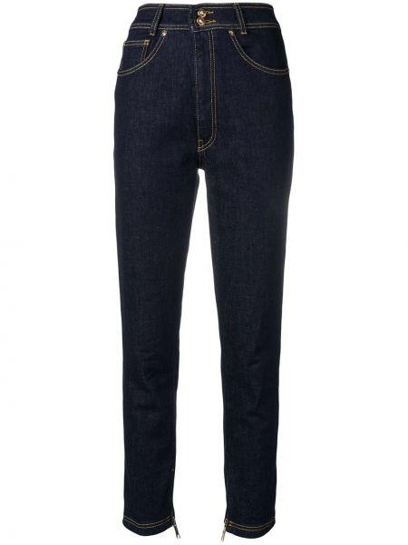 Хлопковые синие джинсы на пуговицах узкого кроя Versus