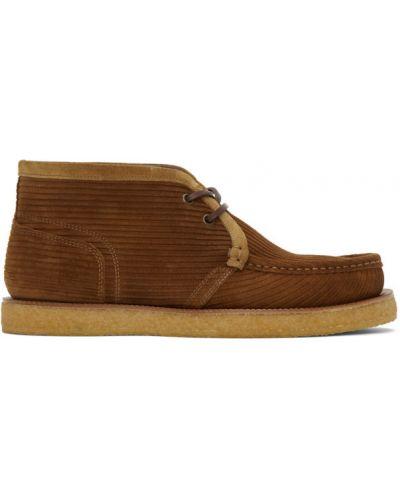 Коричневые замшевые ботинки на шнуровке Dolce & Gabbana