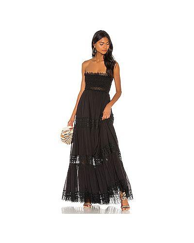Платье макси с кружевными рукавами черное Charo Ruiz Ibiza