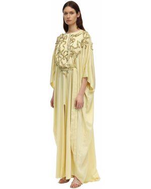 Желтое платье с декольте с бисером с воротником Marchesa