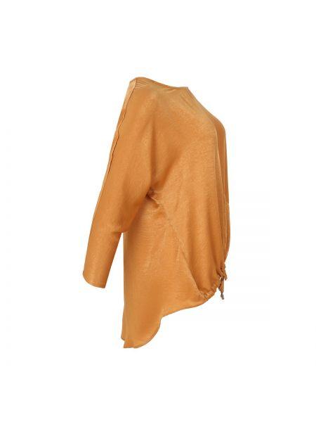 Коричневая блузка с длинным рукавом с V-образным вырезом оверсайз с завязками Mat Fashion