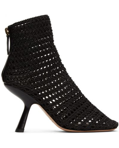 Włókienniczy otwarty czarny buty na pięcie na pięcie Nicholas Kirkwood