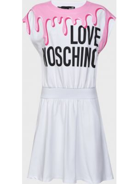 Хлопковое белое платье Love Moschino