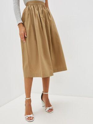 Коричневая юбка свободного кроя Selected Femme