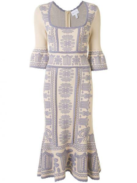Светло-розовое нейлоновое платье миди с вышивкой квадратное Alice Mccall