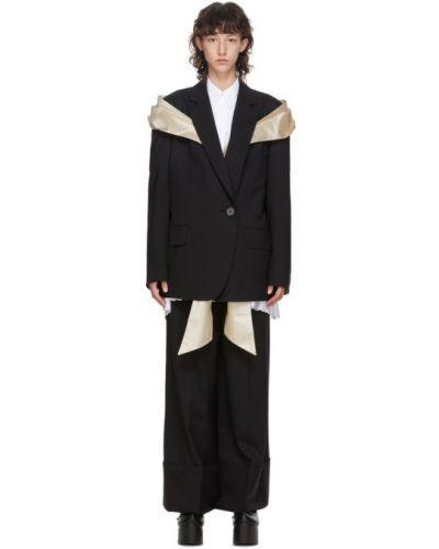 Сатиновый черный удлиненный пиджак с воротником с лацканами Simone Rocha