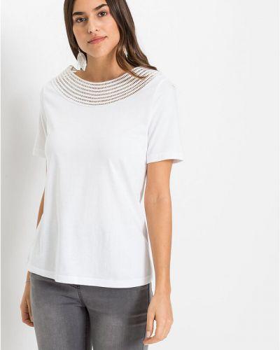 Белая блузка с короткими рукавами с вырезом Bonprix