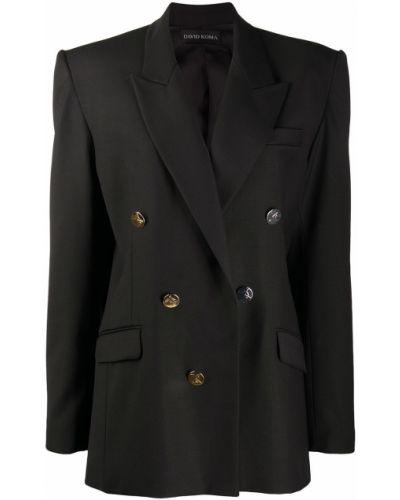 Шерстяной черный костюм двубортный David Koma
