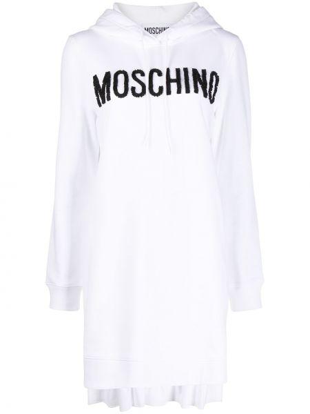 Белое платье макси с капюшоном в рубчик Moschino