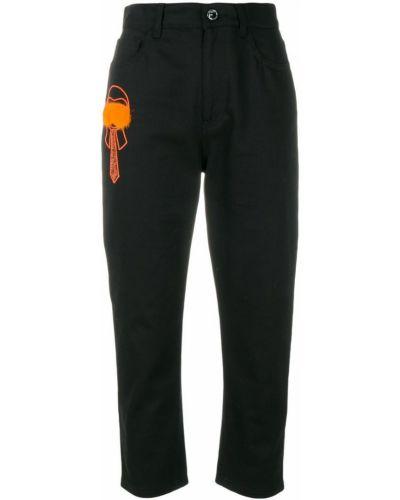 Прямые джинсы укороченные классические с мехом Fendi