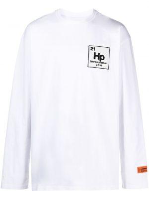 Biały bawełna z rękawami bawełna naszywka na szyję Heron Preston