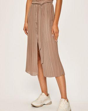 Расклешенная деловая плиссированная юбка на резинке в рубчик Answear