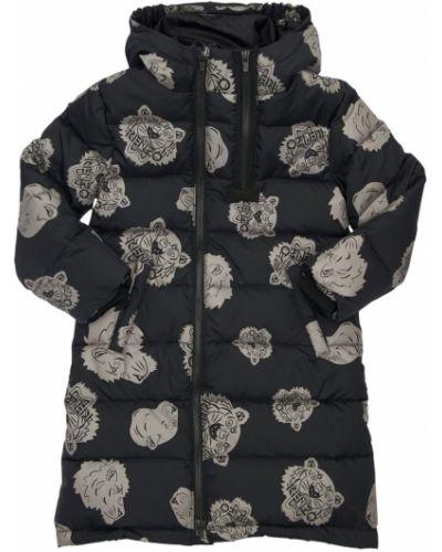 Puchowa czarny płaszcz z kapturem Kenzo Kids