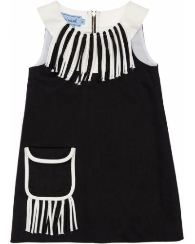 Хлопковое платье с карманами с бахромой с вырезом Mi.mi.sol.
