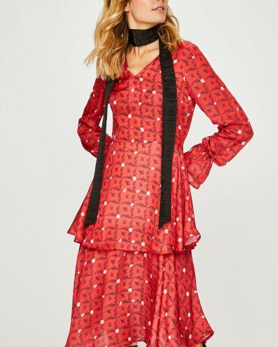 Платье миди с V-образным вырезом облегающее Trendyol