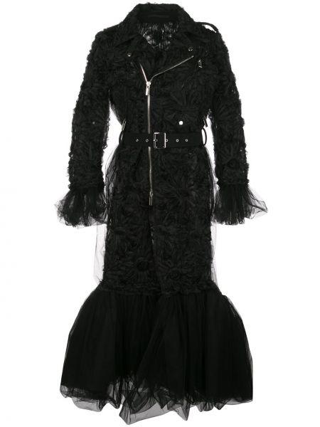 Черное длинное пальто с воротником с карманами Comme Des Garçons Noir Kei Ninomiya