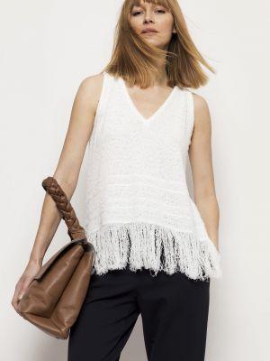 Biały sweter bawełniany Deni Cler Milano