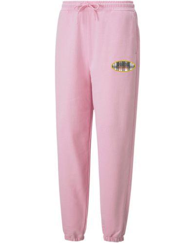 Розовые спортивные брюки винтажные с карманами с надписью Puma