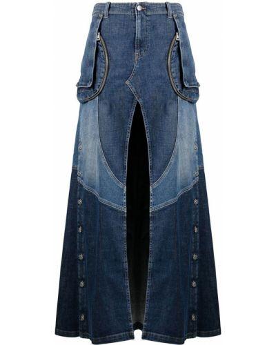 Синяя джинсовая юбка с разрезом на молнии Diesel