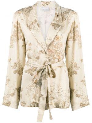 С рукавами удлиненный пиджак с поясом с воротником Pierre-louis Mascia