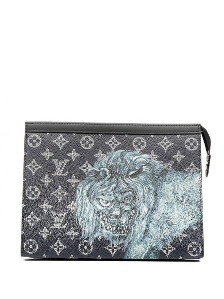 Синий кожаный клатч на молнии Louis Vuitton