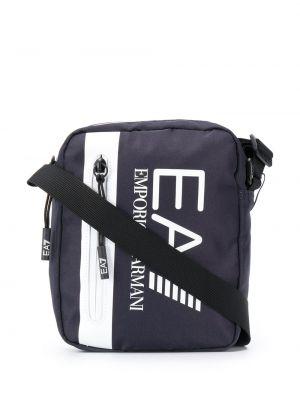 Синяя сумка на плечо на молнии с карманами Ea7 Emporio Armani