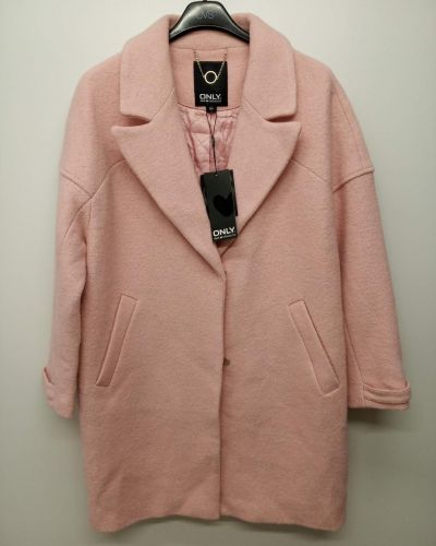 Пальто на кнопках - розовое Only