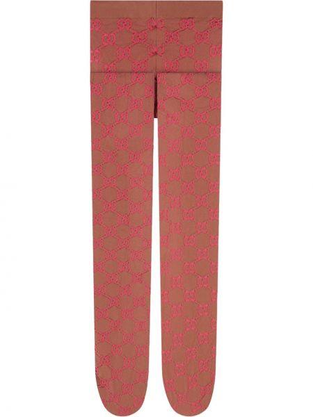 Rajstopy z nylonu - różowe Gucci