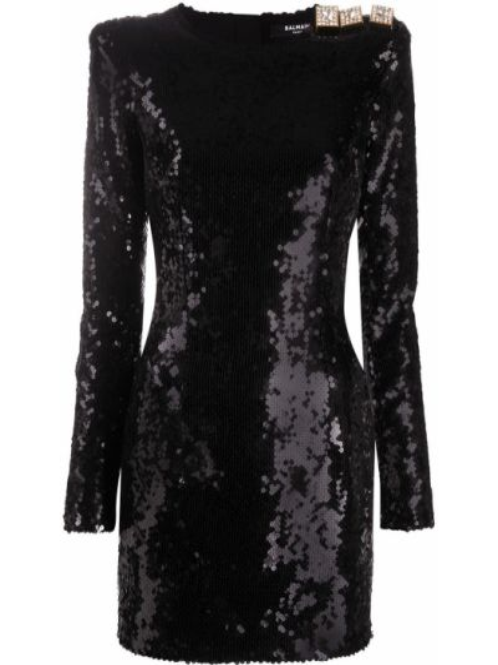 Облегающее черное платье макси с пайетками Balmain