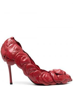 Кожаные красные туфли-лодочки на каблуке Valentino Garavani