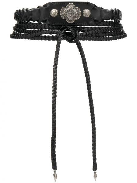 Кожаный черный плетеный ремень с завязками Etro