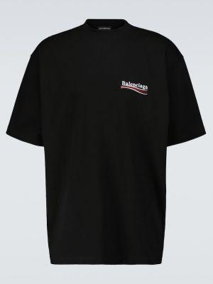 Хлопковая черная футболка оверсайз Balenciaga