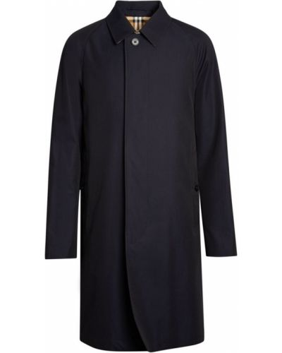 Синее пальто с воротником в клетку Burberry