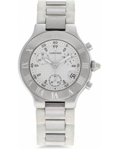 С ремешком серебряные часы на кожаном ремешке круглые Cartier