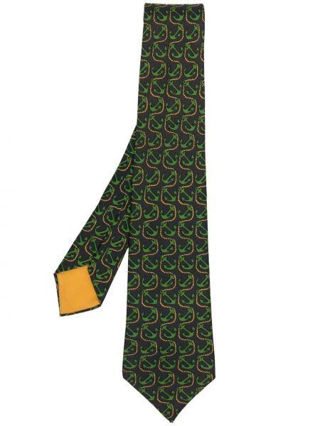 Zielony krawat z jedwabiu z printem Hermes