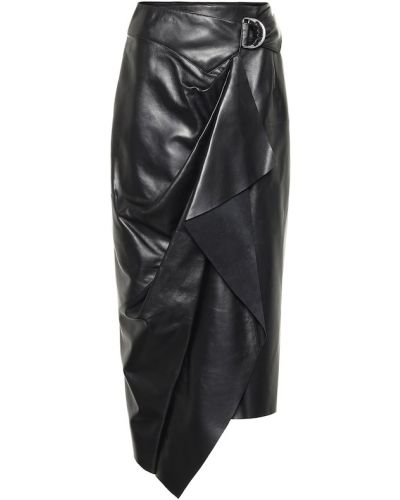 Кожаная юбка с запахом черная Isabel Marant