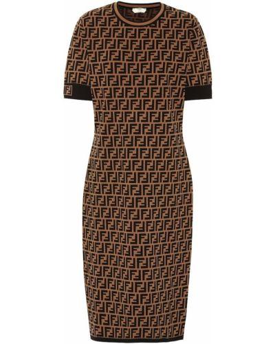 Облегающее платье миди - черное Fendi